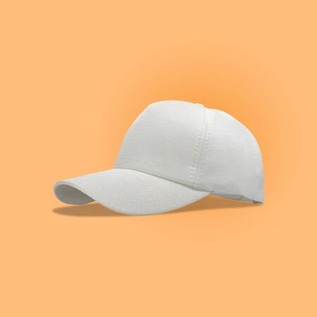 Fashion and sports white cap isolated on beautiful pastel color background, with clipping path. Imagens