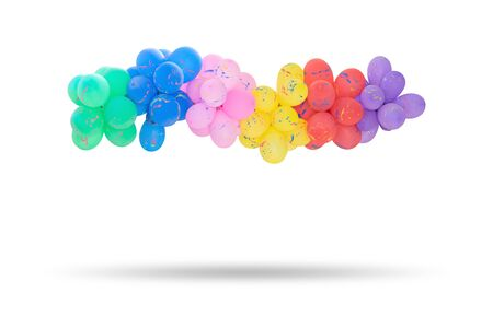 Group of multi colored balloons for decoration in celebrations of various important days isolated on white background. Imagens