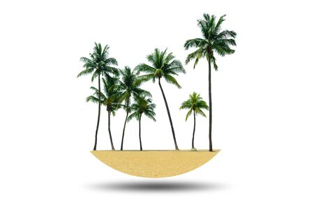 Group of coconut trees with the sands on the beach isolated on white background. Imagens