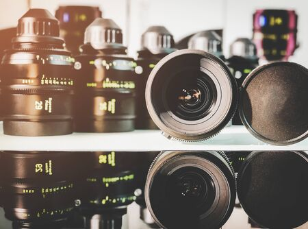 Group of cinema lens for movie film and broadcasting industry.