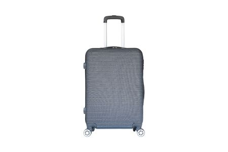 Beautiful gray color travel luggage isolated on white background.