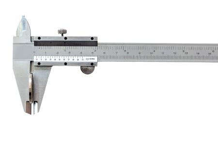 Vernier caliper is an indispensable tool in industrial applications for measuring the length, thickness, and depth of work pieces with precision, isolated on white background