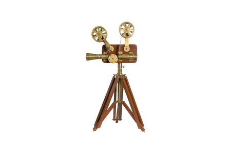 Wooden film cinema camera model isolated on white background.