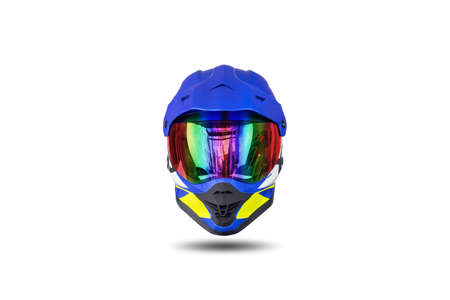Front view of a multi colored motocross helmet isolated on white background. Reklamní fotografie