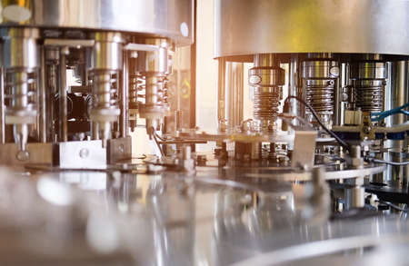 Industrial machinery in the production line and Industrial Factory equipment stainless automation. Standard-Bild