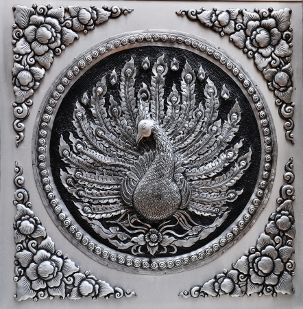 silver alloy: Frame Engraving Silver lacquer plate Show Peacock Animals in mythology fine-art  Global Crafts Thai artists  Place in Chiang Mai