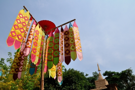Flag of Lanna Thai in Jedrin Temple at Chiangmai Thailand  Stock Photo - 13744287