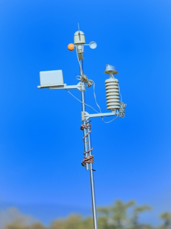 meteorological: Devices meteorological station on the blue background  Stock Photo