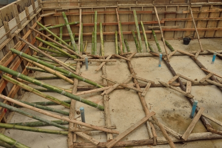 scaffolds: Bamboo scaffolds  in construction site  Stock Photo