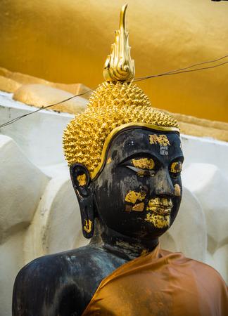 baddha: Black Buddha Statue at Doikham Temple.