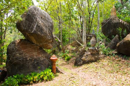 balanced rocks: Balanced rock in the forest northernThailand.
