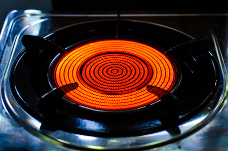 gas burner: Gas burner in the kitchen oven.
