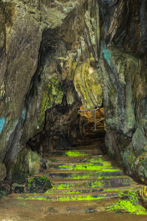 Stairs entrance to Pong Plew Fha cave at Thum Pla Temple,Chiangrai province Thailand. Stock Photo