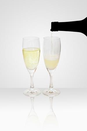 sparking: Refilling a glass of Champagne, Sparking Wine