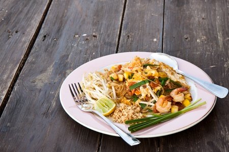Stir Fried Thai Noodle with Shrimp, Pad Thai photo
