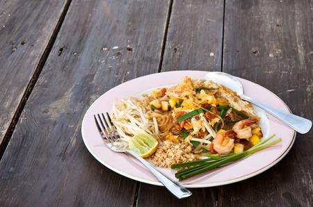 Stir Fried Thai Noodle with Shrimp, Pad Thai photo
