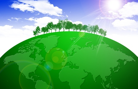 Green wolrd with nature of the world photo