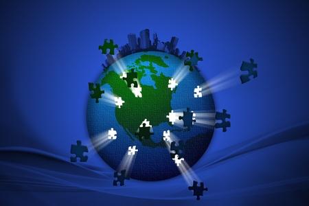 Lighting of the business building world jigsaw background photo