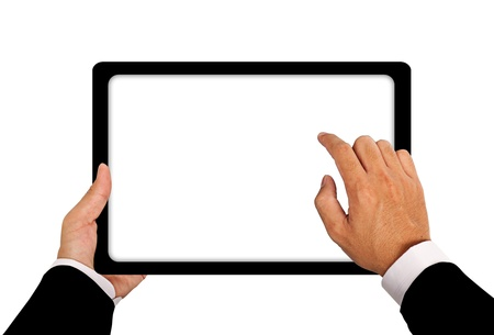 Business hand with Tablet connection on white background photo
