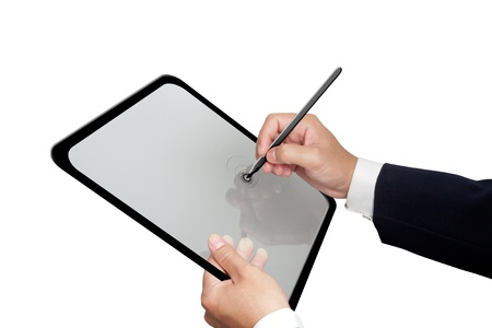 Business Hands writing on his Laptop photo