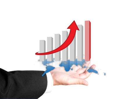 Hand and graph of success business company Stock Photo - 12820592