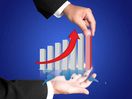 Hand and graph of success business company  photo