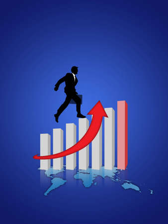 businessman and graph of success business company  photo