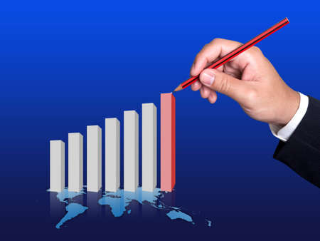 Hand and Finance Graph of success in business  photo