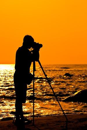 Silhouette Photographer on the beach, Thailand photo