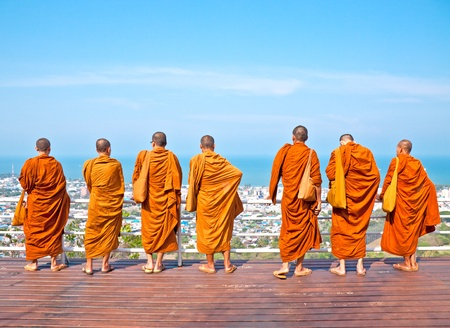 monk: Group monk standing on the view point of HuaHin mountain
