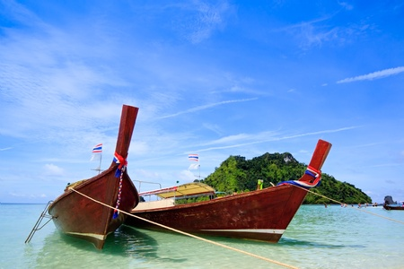 longtail: Thai traditional boats on the island