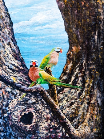 Wildlife of the parrot on the tree by oil painting photo
