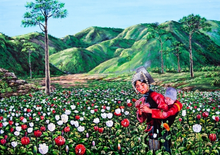 Mum and her son in the flower garden by oil painting photo