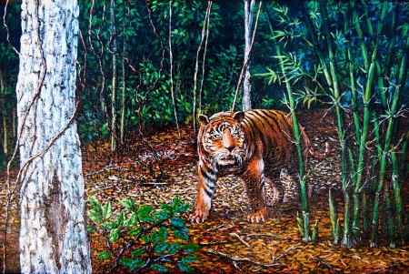 Tiger in the forest of oil painting Stock Photo