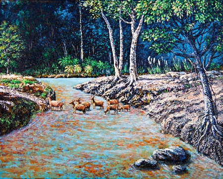 Wildlife of deer in the forest by oil painting