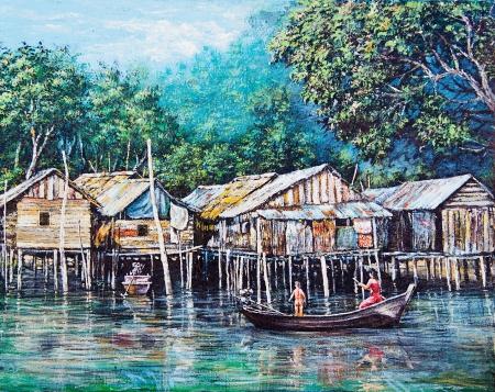 Hilltribe leven van schilderen met olieverf Stockfoto