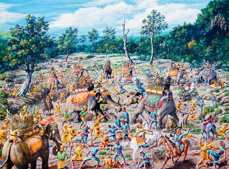 Thai war by oil painting photo