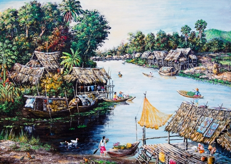 Thai life of oil painting photo