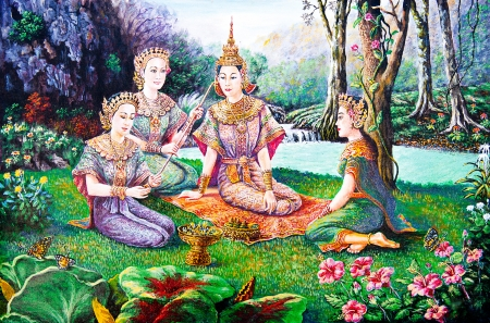 Thai life in the garden of oil painting photo
