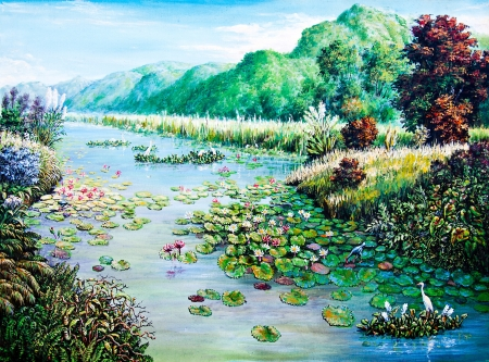 White and Red lotus in the river of oil painting