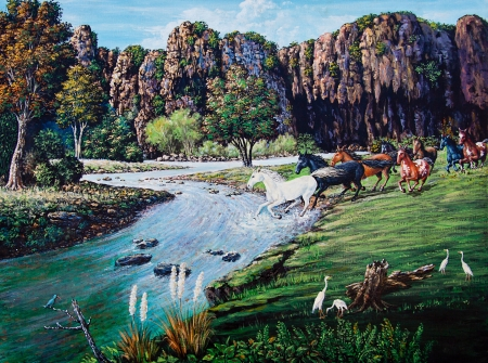 Horse crossing the river of oil painting photo