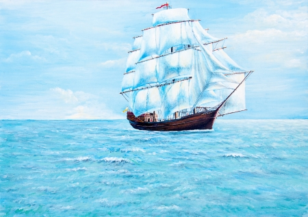 canvas texture: Boat painting on the ocean of oil painting