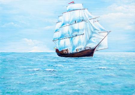 Boot schilderij op de oceaan van olieverf