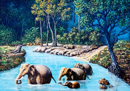 Elephant crossing the river by oil painting