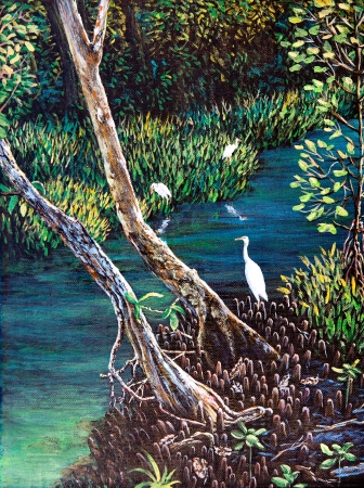Egret in the forest of oil painting