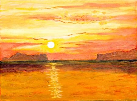 Zonsopgang op de zee van olie schilderij Stockfoto
