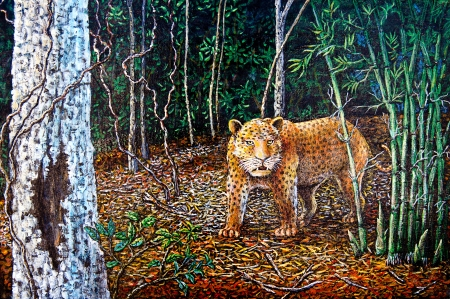 Tiger in the forest of oil painting photo