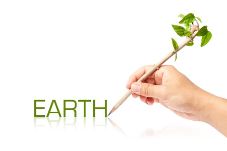 Earth wording with creative pencil with green tree on white backgorund Stock Photo - 13749104