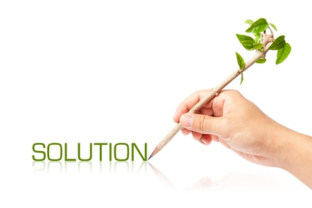 Solution wording with creative pencil with green tree on white backgorund Stock Photo - 13749121