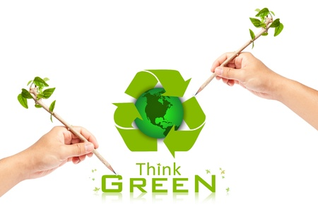 Hand writing Think Green Ecology Concept Stock Photo - 13749098